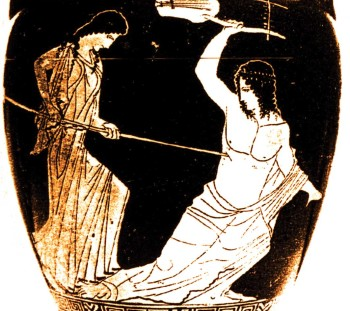 The murder of Orpheus in red-figured amphora of the 5th c. B.C. Bale