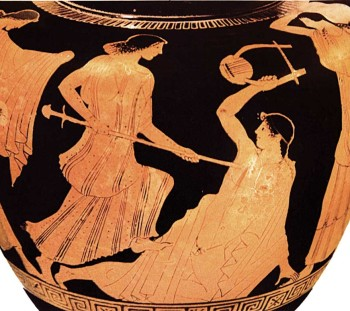 The murder of Orpheus in red-figured stamnos of the 5th c. B.C. Paris, Louvre
