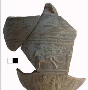 Ελληνιστική κεραμική, κρατήρας με ανάγλυφη διηγηματική παράσταση