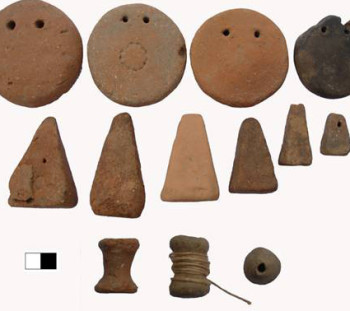 Clay loom weights, spools and spindle whorls