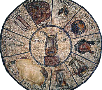 Late Hellenistic mosaic from Elis with the symbols of the Muses, Apollo and Mnemosyne. Archaeological Museum of Elis (© Ministry of Culture and Sports)