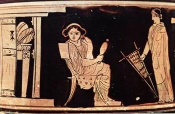 Γυναίκα με τη ρόκα της και δεύτερη με κέντημα. Ερυθρόμορφη παράσταση σε πυξίδα. Παρίσι, Μουσείο Λούβρου