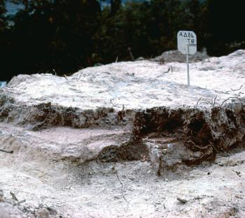 Σπάθες: το κάτω μέρος του μεγάλου λάκκου με μόνωση από πηλό πάνω στις καλυπτήριες πλάκες του τάφου