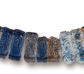 Spathes cemetery: light blue glass tablets, maybe jewelry of Mycenaean Age
