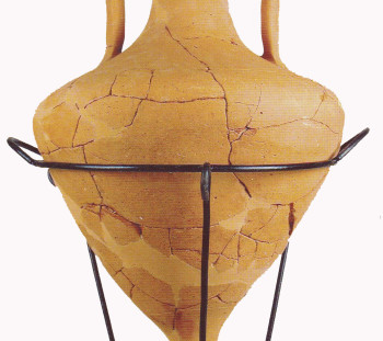 Amphora in the type of Mendi from the ceramic workshop of Krania at the foothills of Platamon Castle, where the ancient Herakleion is located. 4th century B.C.