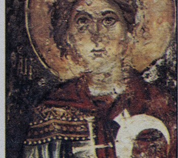Saint Tryphon, the Christian patron of viticulture, is depicted with vine sickle. 1300 A.D., church of Saint Demetrius, Rethymno Crete