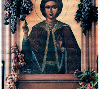 Εικόνα του πολιούχου αγίου στο παρεκκλήσι του Αγίου Τρύφωνα, στη Γουμένισσα Κιλκίς