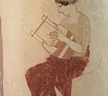 White lecythos with a Muse on Helicon. Classical period. Munich, Staatliche Antikensammlungen